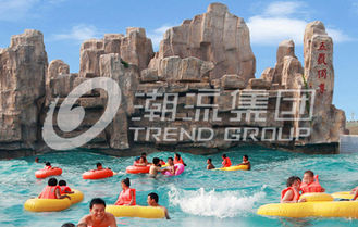China Fashional Fiberglass Water Parks With Wave Pools Popular Cool / Water Slide supplier