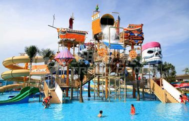 China Colorful Outdoor Water Parks with Fiberglass Water Slides 29 x 27m Space supplier