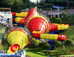 China Ashland / DSM Resin Fiberglass Water Slide Tantrum Valley Water Park Rides 16m supplier