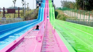 China Multi - Lanes Rainbow Custom Water Slides For Aqua Park Fiberglass Material supplier