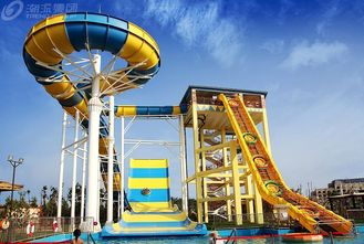 China Outdside Giant Boomerang Fiberglass Water Slide For 6 Person , Water Park Tower Height 18.75M supplier