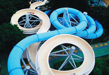 China Spiral Waterpark Slide , FRP Water Park Slides / Cuustomized Water Slide for Giant Aqua Park supplier