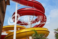 China Outdoor Fiberglass Water Slides Custom FRP Spiral Red Water Slides CE company