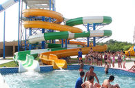 China Waterpark Equipment, Fiberglass Open / Close Spiral Slide, Custom Water Slides 11m Height factory