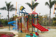 China Kids' Water House Playground Structures With Water Slide, Climb Net, Water Spray factory