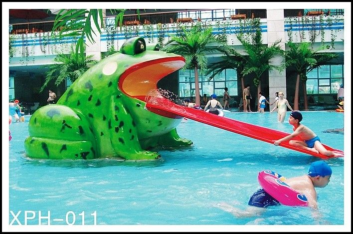 Frog Shape Water Pool Slides Aqua Park Fiberglass Small Slide For Kids