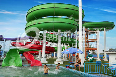 Green Big Commercial Pool Water Slides For Theme Park / Backyard Water Slides Kids