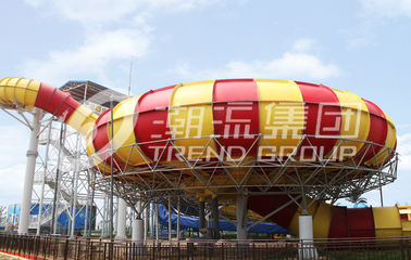 China Commercial Fiberglass Cloth Outdoor Water Slides Plastic Slide 20*17m Floor Space factory