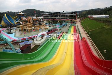 China Multi Lanes Rainbow FRP Custom Water Slides In An Amusement Park Water Slide factory