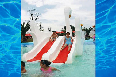 Indoor Or Outdoor White Swan Fiberglass Pool Slide , Water Amusement Park Kids Water Slide