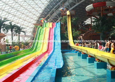 China 4 Lanes GRP Custom Water Slides / Amusement Park Water Slides for Adults factory