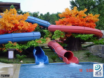 China Fiberglass Children Water Slide for a water park Blue / Yellow  / customized for Kids Water Park factory