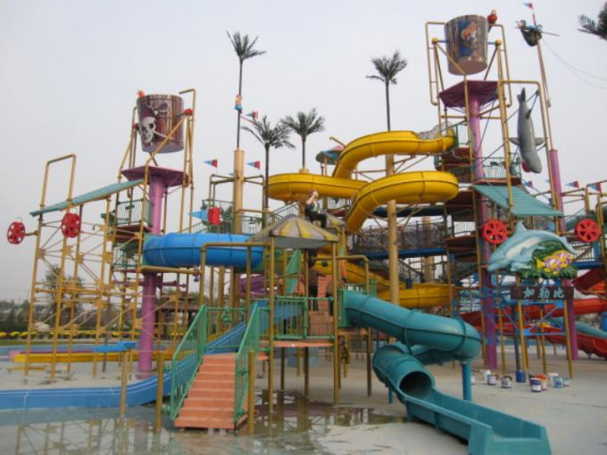 Trend Hotspring Waterpark Project , Fiberglass Water Park Equipment  / Customized Aqua Park Project