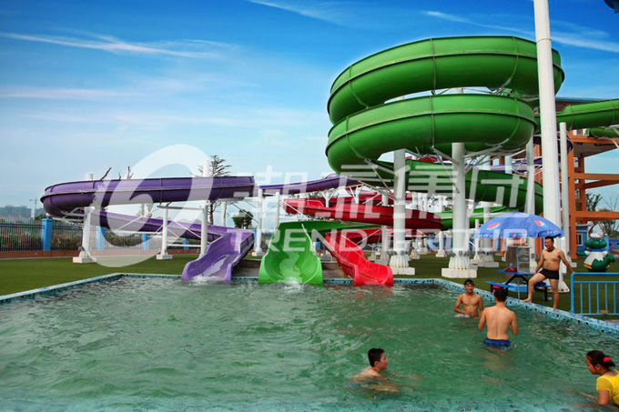 Green Big Commercial Pool Water Slides For Theme Park