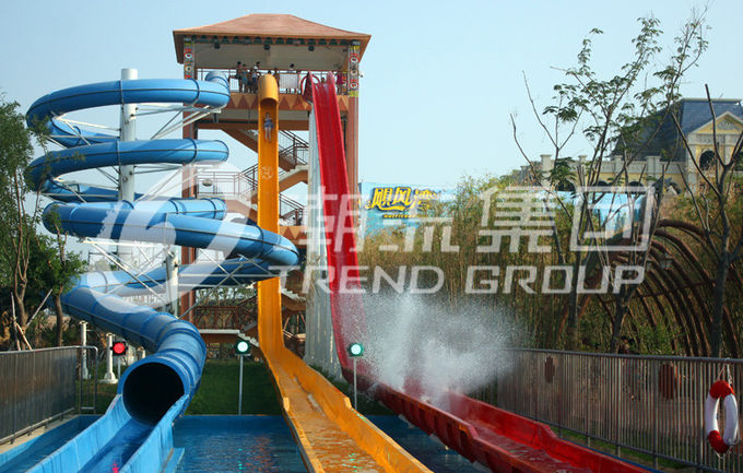 Fiberglass Custom Water Slides High Speed For Amusement Water Park 1 Person / Lane