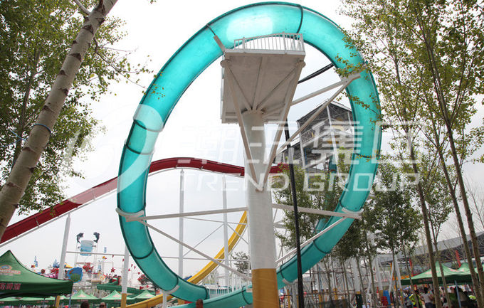 Exciting Aqua Park Fiberglass Water Slides , Platform Height 16m For Water Park