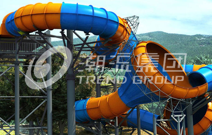 Funny Fiberglass Water Slides Height 16m Tantrum Valley Capacity 480 Riders / h for Water Park