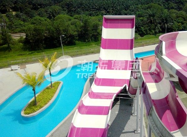 Long Raft Spiral fiberglass Water Slides With Two Person Riding