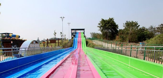 Multi - Lanes Rainbow Custom Water Slides For Aqua Park Fiberglass Material
